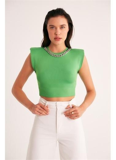 Robin Robin Zincir Detaylı Triko Body Yeşil Yeşil